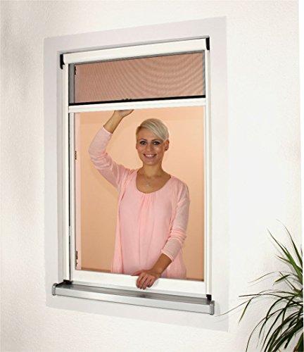 1PLUS Premium Aluminium Insektenschutz Rollo für Fenster in verschiedenen Größen und Farben 130 x 160 cm Weiß