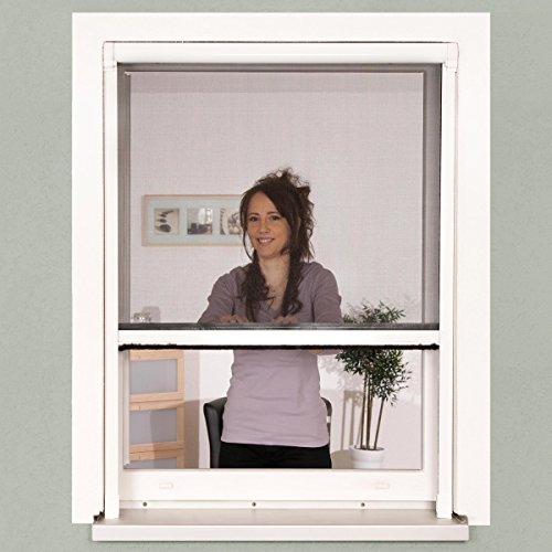 Insektenschutz Fenster Rollo 130 x 160 cm weiß Alu-Bausatz Insektenrollo  Fiberglasgewebe kürzbar und arretierbar