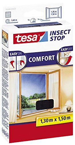tesa Insect Stop COMFORT Fliegengitter für FensterInsektenschutz mit selbstklebendem Klettband 2er Pack 130 cm x 150 cm