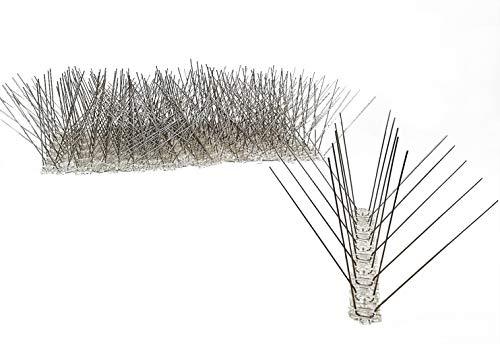 5 Meter Vogelabwehr Taubenabwehr - 20 St x 25 cm Lange Leiste mit 4 Reihen Edelstahlspitzen