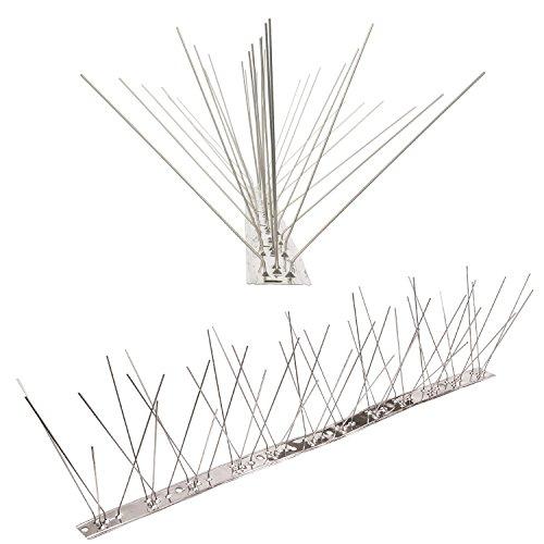 Pestsystems Vogelabwehrsystem 1 Meter Taubenspikes 5-reihig auf V2A-Flexleiste - hochwertige Lösung für Vogelabwehr Taubenabwehr Edelstahl Spikes