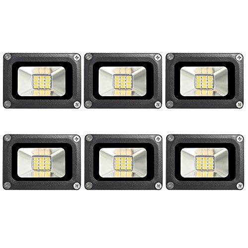 6Pcs 10W LED Flood Light Warm White 2800-3200K IP65 Outdoors Security Wall Lamp 12V 800-900LM Außenstrahler für Korridor Balkon Pfad 6