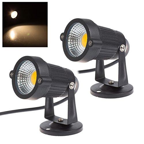 2 x Spot COB 5w LED Gartenleuchte 3000k Warmweiß 220V 400 Lumen Wasserdicht IP65 LED Gartenbeleuchtung Garten Scheinwerfer LED Rasen Licht LED Lawn Licht Spotbeleuchtung Bodenleuchte Teichstrahler