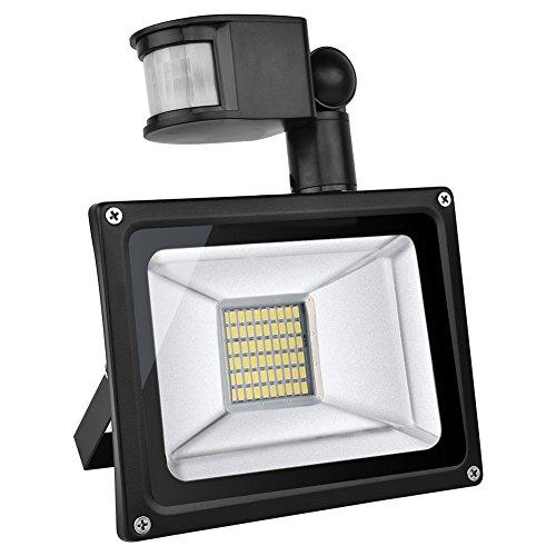 TEquem Warmweiß 30 Watt LED SMD Flutlicht Strahler mit PIR Bewegungsmelder Fluter 220V Außenleuchte Wandstrahler Außenstrahler IP65 2800K-3200K