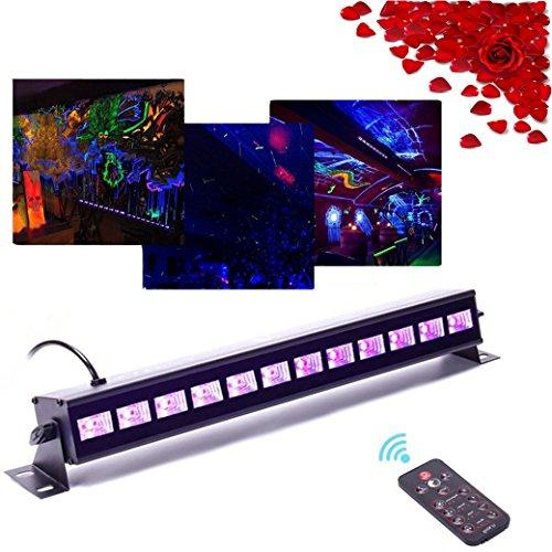 Top-Uking 36W UV Schwarz Lichter LED Bühnenscheinwerfer Bar Licht mit Fernbedienung für PartyWeihnachtenBarBühneZimmerKindergeburtstag 12LED Mit Fernbedienung