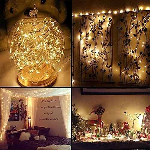 Lichterkette Außen HUIHUI Wasserdicht 5M 50 Mini LEDs Kupferdraht Lichterkette batteriebetrieben für Party Garten Weihnachten Halloween Hochzeit Indoor Outdoor Decor BeigeOne size