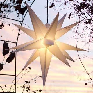 Mit LED Außenstern Stern Outdoor weiss - beleuchteter Stern 55-60 cm Weihnachtsstern Leuchtstern Faltstern mit Leuchtmittel LED StaRt-NDL-DUH-E14-C35W 104 Dioden