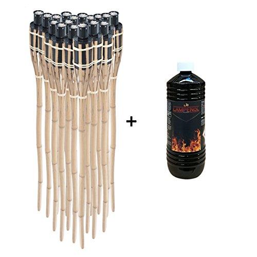 Topgoods 18 x Gartenfackel Bambusfackel 90cm mit 1 Liter geruchsloses Lampenöl hochgereinigt