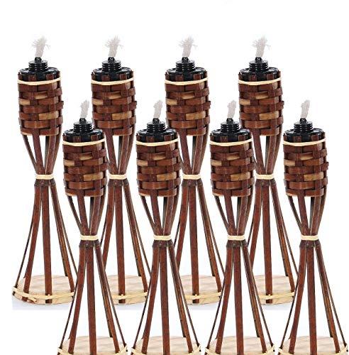 Unbekannt 8 Stück Tisch Bambusfackel Braun Gartenfackel mit 8 Stück Eingesetzter Dochte Inklusive Gratis Ersatzdochte Tisch Bambus Fackel  Ersatz Docht 8 Braun