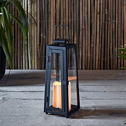Lights4fun LED Metall Solarlaterne mit Kerze 295cm Hoch Außenbereich