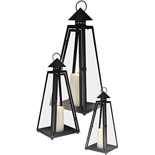 Multistore 2002 3er Set Laterne Windlicht Gartenlaterne Gartenlampe Gartenleuchte Metalllaterne Metallgestell mit Glasfenster