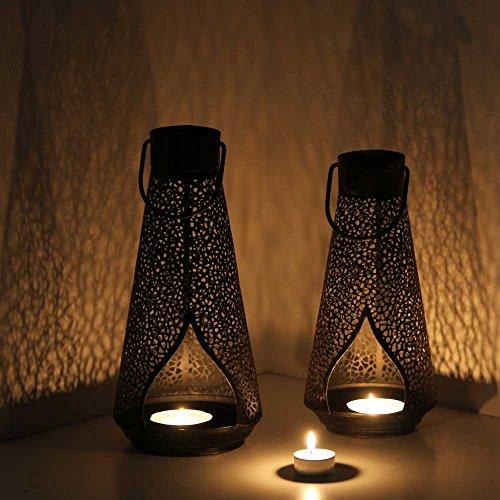 albena shop 73-137 Penta orientalische Laterne Windlicht Metall 2er-Set SL