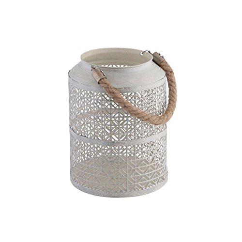greemotion Metall-Laterne gebürstet Gartenlampe im edlen Karodesign Windlicht mit praktischem Seilgriff ideal für Kerzen und Teelichter weiß Maße ca Ø 165 x H 22 cm