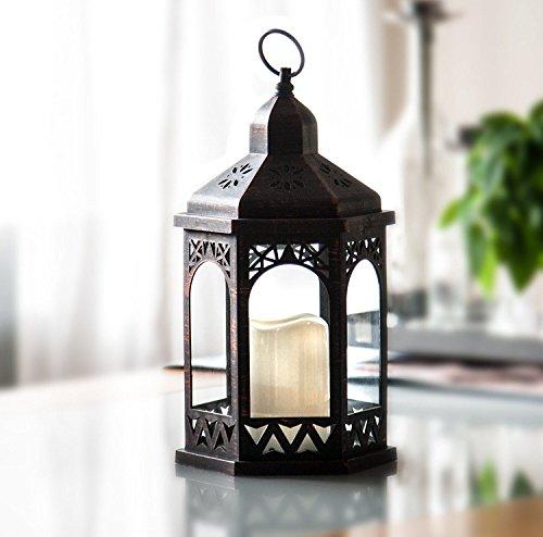 LED Laterne mit Fernbedienung12 Farben einstellbar 4 8 Std Timer 38 cm Höhe Antik Design Hängend oder stehend nutzbar mit integrierter LED Kerze