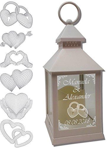 Udigde Mini Laterne mit LED Kerze weiß Mod 3 mit Text und 3D Motiv-Gravur 24x10x10 cm mit Timerfunktion - Hochzeitslaterne