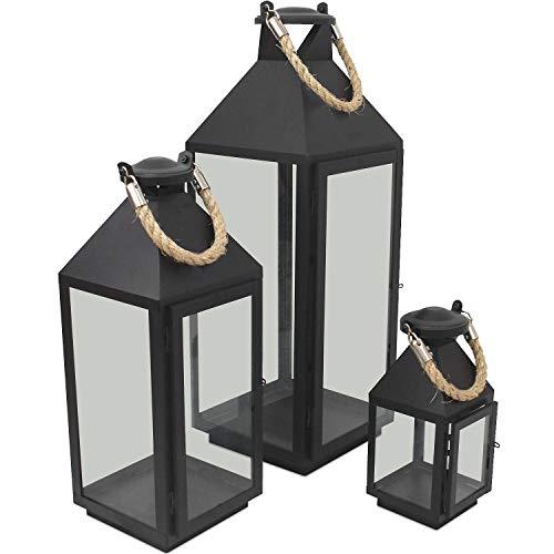 Wohaga 3er Set Laternen mit Henkel H244155cm aus MetallGlas Laternen Windlichter für Kerzen oder Dekoration