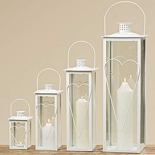 Boltze Laterne Eisenlaterne romantisch Windlichtlaterne weiß Windlicht mit Herz Hochzeitsgeschenk H 35 cm