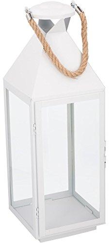 Laterne Metall 1 Seil Griff Windlicht Kerze Teelicht Deko Kerze Größe Groß Farbe Weiß