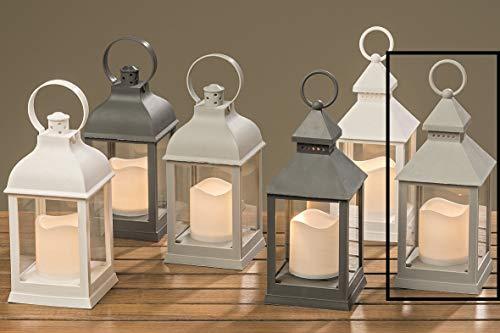 Meinposten Laterne LED mit Timer warmweiß Kerze Windlicht grau weiß Deko H 22 cm Batterie Modell 6