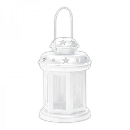 Metall Laterne  Windlicht für Teelichter in Weiß - Tolle Deko für Wohnung und Terasse
