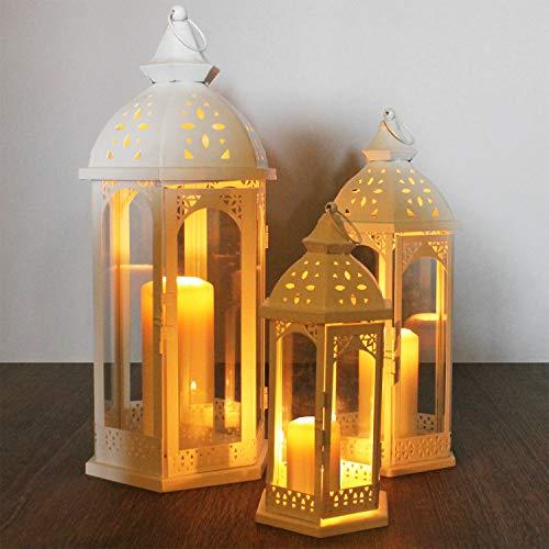 Multistore 2002 3tlg Laternen-Set H304050cm Weiß Laterne Gartenlaterne Kerzenhalter Gartenbeleuchtung Windlicht