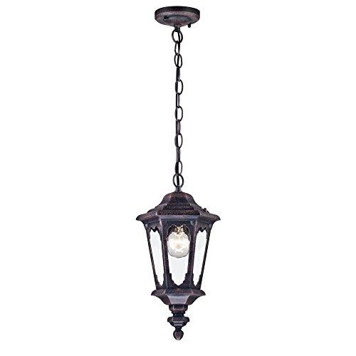 Antike vintage Pendelleuchte außen Laterne schwarzes Alu klares Glas rustikal und klassisch für Beischlag Terrasse exkl1 E27 60W IP44