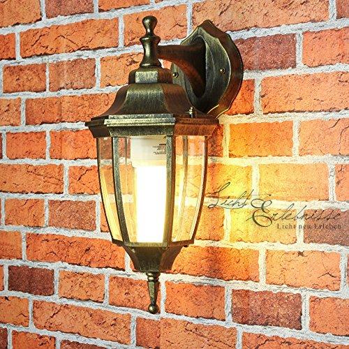 Down Leuchte außen LYON Gold Antik H38cm wetterfest rustikal Laterne Wandlampe Hof Balkon Terrasse