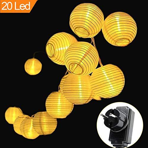 MOVEONSTEP Lichterkette LED Lampions Laterne 20er 5M Wasserfest 8 Modi Warmweiß Beleuchtung Dekoration für Party Terrasse Haus Outdoor Hof Weihnachtsbaum