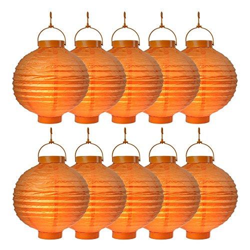 SO 10er Pack LED Lampions Orange Laterne Lampion Garten Balkon Terrasse Party Beleuchtung Dekoration