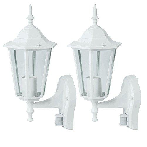 2er Set Außen Lampen Fassaden Wand Laternen Alu Beleuchtungen weiß Bewegungsmelder Glas Leuchten