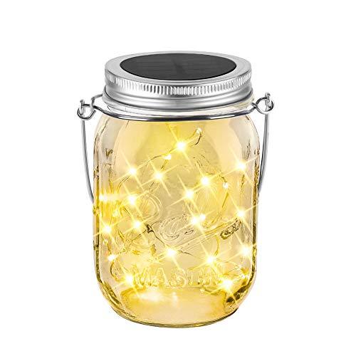 Solar Mason Jar Licht 20Leds Garten Dekoration LaterneBalkon Tischleuchte für AußenWarmeweiße Glasgläser Hängeleuchte Wasserdichte für Verzierungs Garten Partei