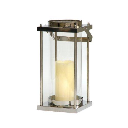 Windlicht XXL exklusive Laterne aus Edelstahl mit Glas 38 cm hoch  Garten-laterne für die Terrasse im Sommer Laternchen aus Glas und Metall