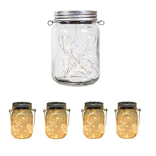 Aons Mason Jar Licht Solar Wasserdichte 20 LEDs leuchtet Perlen Glas Hängeleuchte Outdoor String Laterne Dekoration für Zuhause Party Garten Hochzeit Warmweiß