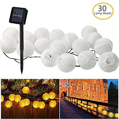 Zaeel Solar Lichterkette Lampions 30 LED Laterne Warmweiß Lichterkette Solarbetrieben Lichterkette 6m Wasserfest Außenbeleuchtung Lampions Laternen Dekoration für Party Garten Terrasse und Hof