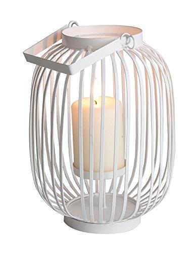 Home4You Laterne Windlicht Gartenlaterne LIV  Ø 19 x H 26 cm  Weiß  Metall
