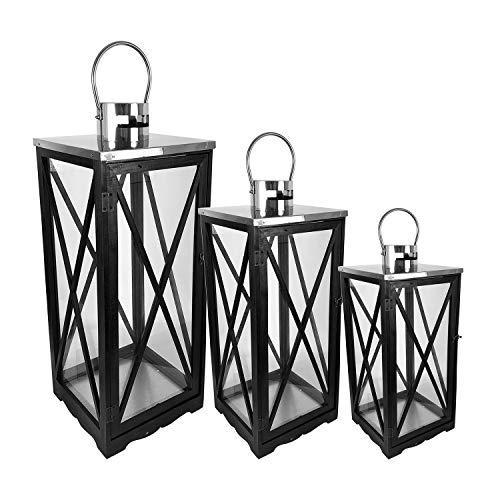 Mojawo 3er Laternen-Set Holz XL H34  5270 Windlicht Schwarz matt Gartenlaterne Kerzenhalter Holz