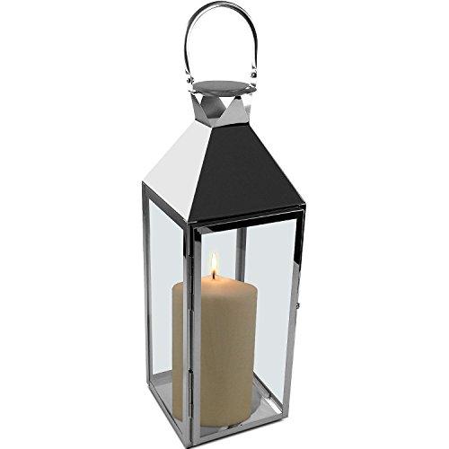 Multistore 2002 Elegante Laterne 54x18x18cm aus Edelstahl mit Glasfenster und Henkel Gartenlaterne Kerzenhalter Windlicht Dekoration Beleuchtung