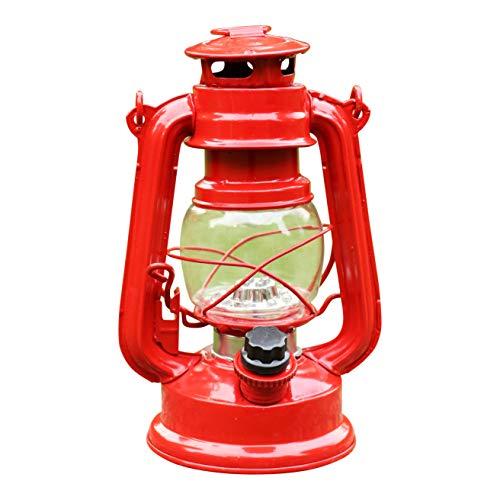PK Green Erstklassige LED Sturmlampe Batteriebetrieben  Laterne Sturmlaterne Dimmbar Metall Rot  Höhe 19cm  Windlicht Öllampe Elektrisch  Gartenlaterne Hängend Retro Außenbereich Garten Outdoor