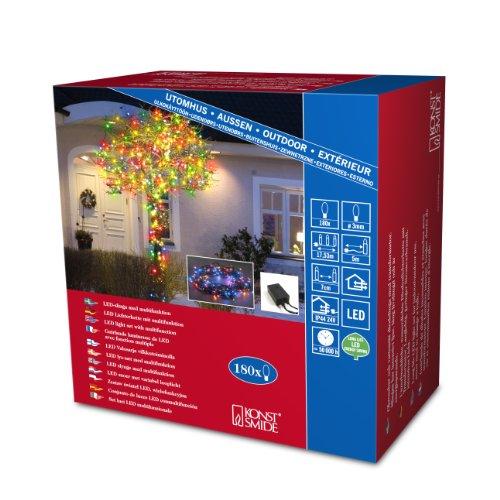 Konstsmide 3632-500 Micro LED Lichterkette  für Außen IP44   24V Außentrafo  mit 8 Funktionen Steuergerät und Memoryfunktion  180 bunte Dioden  schwarzes Kabel