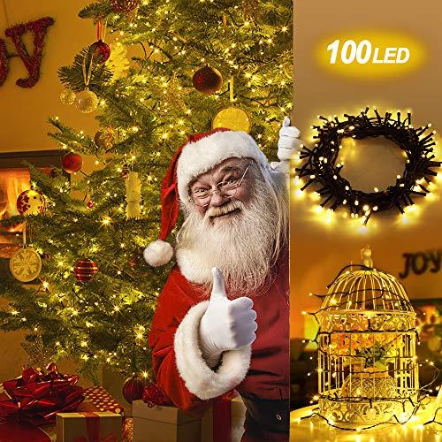 Fernbedienung und Timer  lichterkette 10m 100er Dimmbare Wasserdichte Warmweisse Weihnachtsbeleuchtung mit 8 Modi als Lichterkette Innen Aussenbeleuchtung LED Lichterkette mit Batterie