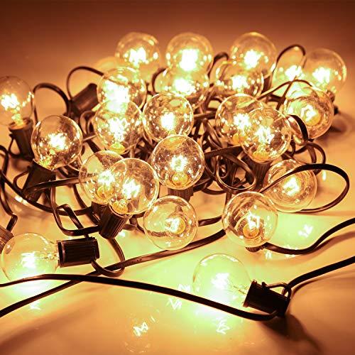 YDO Lichterkette Außen mit 25 Glühbirnen und 2 Ersatzbirnen – Erweitbare Maximal 4 Licherketten für Innen Balkon Garten Outdoor Weihnachten Party Hochzeit Warmweiß 76 M Länge IP44 Wasserdicht