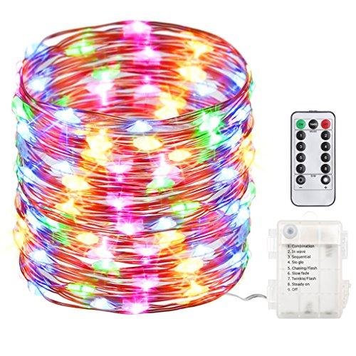 GDEALER 10M 100er LED Bunte Lichterkette 8 Modi Außen Batteriebetrieben IP65 mit Fernbedienung für Outdoor Innenbeleuchtung Garten Hochzeit Party Weihnacht und Haus weihnachts deko