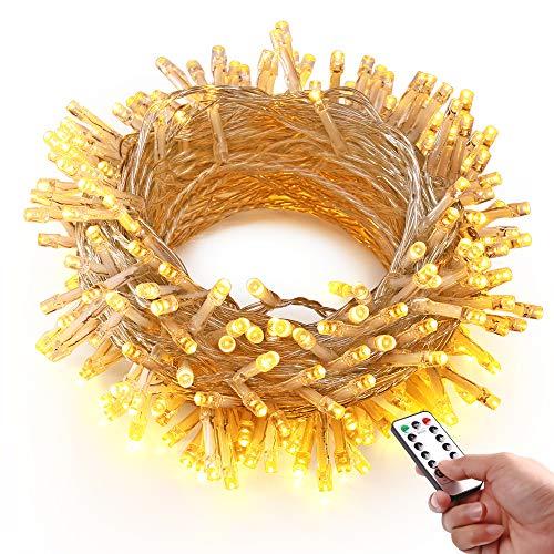 HAYATA 200 LED Batterie Lichterketten - 20m Weihnachtsbeleuchtung mit Fernbedienung Timer - IP65 Wasserdicht Außenbeleuchtung for Garten Haus Hochzeit Fee Weihnachten Dekoration Warmweiß