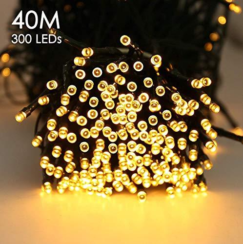 Quntis 300er 40m LED Lichterkette Batteriebetrieben Timer Warmweiß Weihnachtsbeleuchtung Außen Innen Wasserdicht 8 Modi Dekolicht für Xmas Hochzeit Geburtstag Party Garten Zimmer Terrasse Balkon