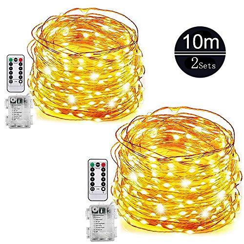 LED LichterketteWeyty Batterie Lichterketten Außen2 Stück 10M 100er LED Kupferdraht Lichterkette 8 ModiTimer-Fernbedienung und IP65 Wasserdicht für OutdoorGartenWeihnacht Warmweiß