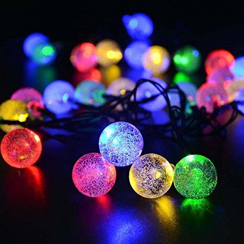 Kugel-Lichterkette eSky24 Globe-Lichterkette mit 50 LED Innen- und Außen Deko Glühbirne 5 Meter Batteriebetrieb Beleuchtung für Weihnchaten Hochzeit Party Mehrfarbig