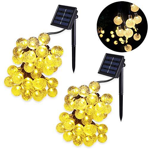 2 Stück Solar Lichterkette Kristall Kugeln MrTwinklelight LED Lichterkette Außen 45 Meter 30er Außerlichterkette Deko für Garten Bäume Terrasse Weihnachten Hochzeiten Partys Innen Warmweiß