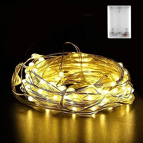 Micro LED Lichterkette Batterie Nasharia 30 LED 3m Micro LED Lichterketten für Hochzeit Party Weihnachten AußenInnen Dekoration IP65 Wasserdich Warmweiß