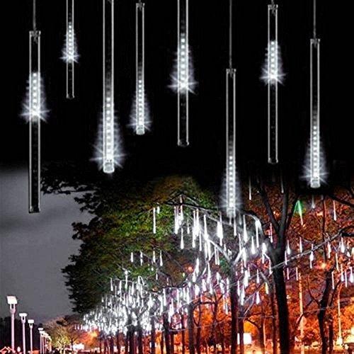 Minger LED Lichterkette 30cm Meteorschauer Röhren 8 Tube 144 LEDs 100V-240V Deko Leuchten LED für Außen Garten Bäume Weihnachten Dekoration EU Stecker Weiß