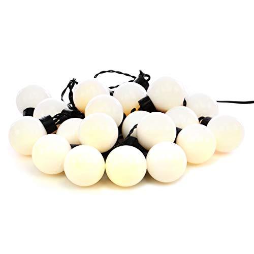 Nipach GmbH LED Partylichterkette Partybeleuchtung Lichterkette für Weihnachten Hochzeit Kindergeburtstag – 20 Leuchtkugeln mit Trafo – innen außen – warm-weiß Ø 4 cm